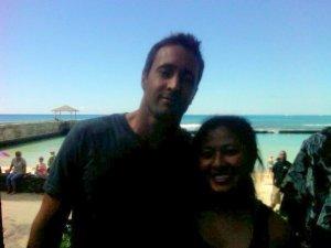 Yen Phan with Alex O'Loughlin at Waikiki beach for Hawaii Five-0 filming.  Photo: Yen Phan