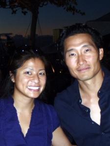 Yen Phan with Daniel Dae Kim on Hawaii FIve-0 set